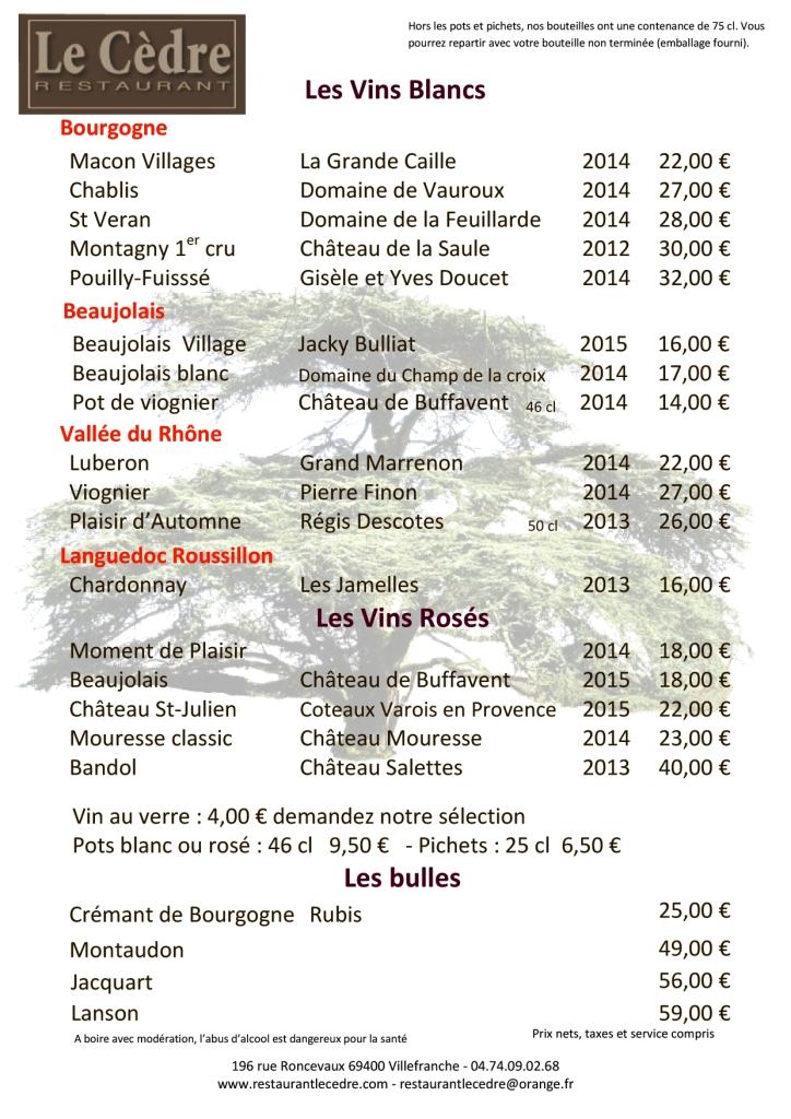 Carte des vins blancs roses champagne et cremant mai 2016
