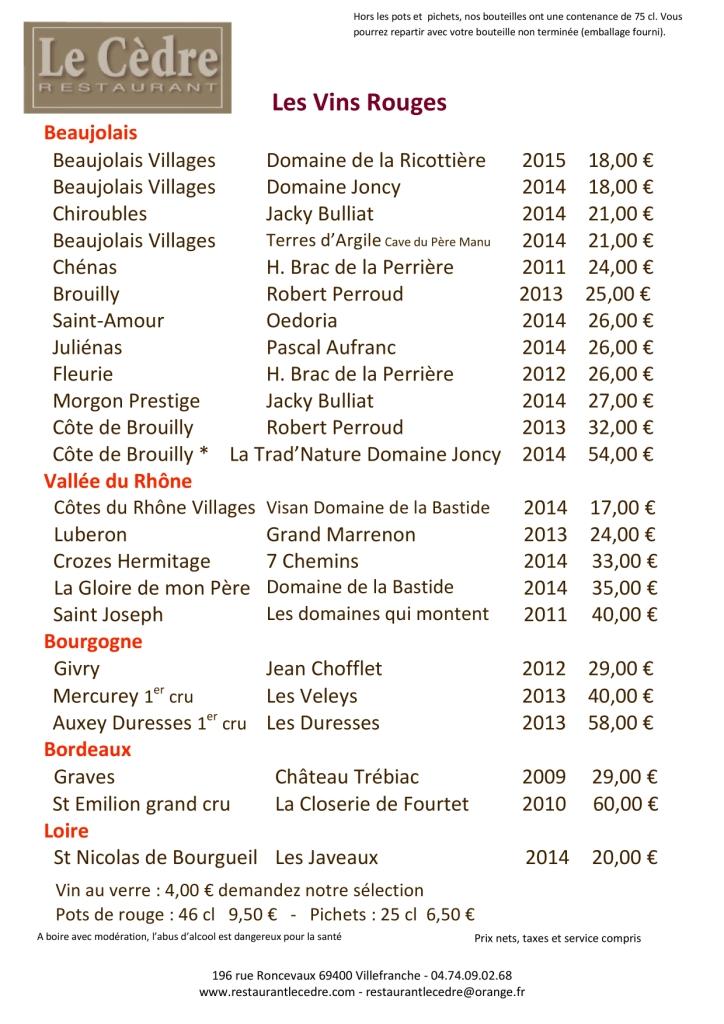 carte des vins rouges mai 2016